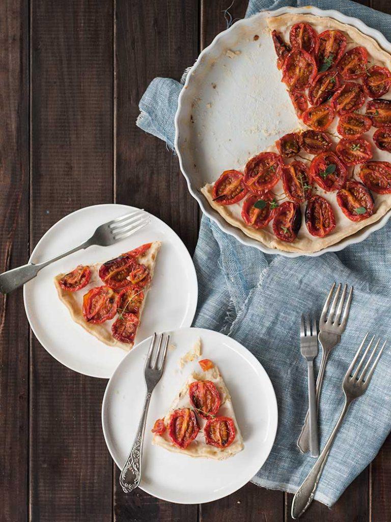 Tarta queso de cabra y tomates asados